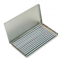 Kleurpotloden in metalen doos.
